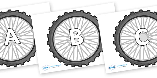 A-Z Alphabet on Bike Wheels - A-Z, A4, display, Alphabet frieze, Display letters, Letter posters, A-Z letters, Alphabet flashcards