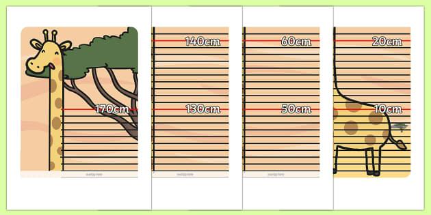 Giraffe Height Chart - safari, safari height chart, safari themed height chart, giraffe, height, measure, giraffe wall chart, childrens height chart