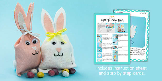 Felt Bunny Bag Craft Instructions - bunny, bag, craft, felt