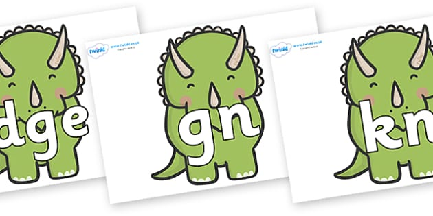 Silent Letters on Triceratops Dinosaurs - Silent Letters, silent letter, letter blend, consonant, consonants, digraph, trigraph, A-Z letters, literacy, alphabet, letters, alternative sounds