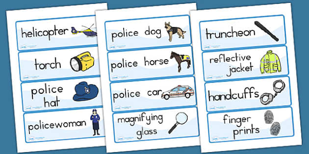 Police Word Cards - police, police role play, props, services