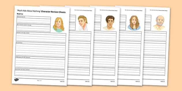 Much Ado About Nothing Character Revision Sheets - Much Ado About Nothing, Character, Revision, Beatrice, Benedick, Claudio, Hero, Don Pedro, Don John, Leonato, Antonio, Ursula, Margaret, Borachio, Conrad, Dogberry, Verges, Friar