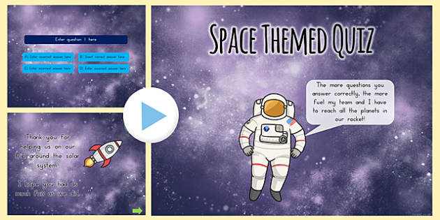 Space Themed Editable PowerPoint Quiz - australia, space, quiz