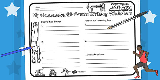 The Commonwealth Games Write Up Worksheet - writing template, pe