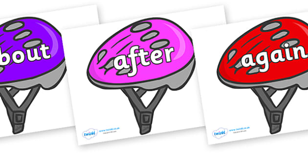 KS1 Keywords on Bike Helmets (Multicolour) - KS1, CLL, Communication language and literacy, Display, Key words, high frequency words, foundation stage literacy, DfES Letters and Sounds, Letters and Sounds, spelling