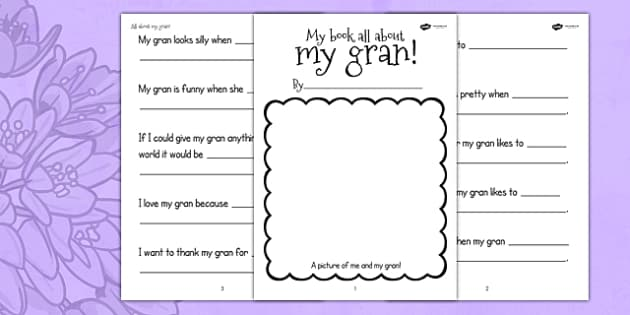 A Book About My Gran Writing Template - writing frames, write, literacy