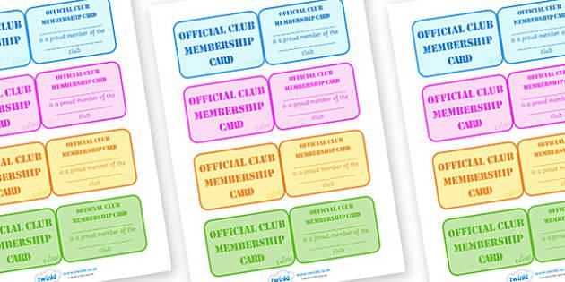 School Club Membership Cards - school club, membership, cards, badge, member