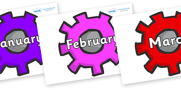 Months of the Year on Cogs - Months of the Year, Months poster, Months display, display, poster, frieze, Months, month, January, February, March, April, May, June, July, August, September