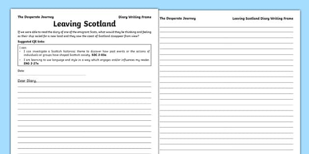 Highland Clearances Diary Writing Frame - Desperate Journey, scottish, scotland, cfe, curriculum for excellence, literacy, story, literature, primary, history