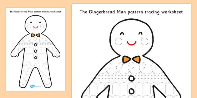 The Gingerbread Man Pattern Tracing Activity Sheet - gingerbread man