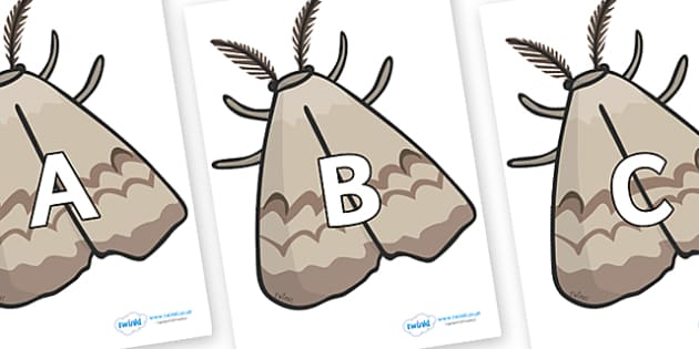A-Z Alphabet on Moths - A-Z, A4, display, Alphabet frieze, Display letters, Letter posters, A-Z letters, Alphabet flashcards