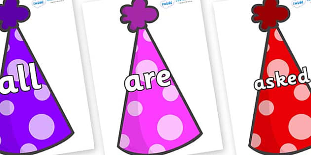 Tricky Words on Party Hats - Tricky words, DfES Letters and Sounds, Letters and sounds, display, words