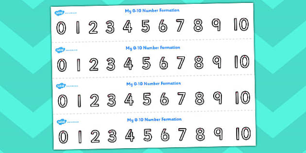Number Formation Strips 0 to 10 - counting, numeracy, maths, count