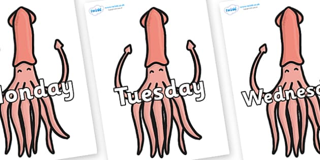 Days of the Week on Squids - Days of the Week, Weeks poster, week, display, poster, frieze, Days, Day, Monday, Tuesday, Wednesday, Thursday, Friday, Saturday, Sunday