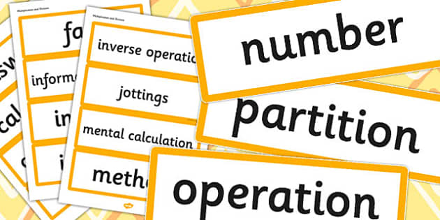Year 3 2014 Curriculum Math Multiplication and Division Vocabulary