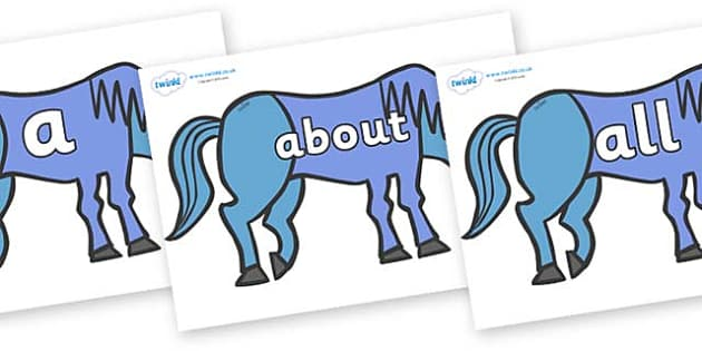 100 High Frequency Words on Blue Horse to Support Teaching on Brown Bear, Brown Bear - High frequency words, hfw, DfES Letters and Sounds, Letters and Sounds, display words
