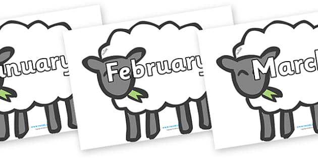 Months of the Year on Sheep - Months of the Year, Months poster, Months display, display, poster, frieze, Months, month, January, February, March, April, May, June, July, August, September