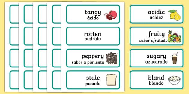 Taste Word Cards English/Spanish