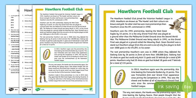Hawthorn Football Club Differentiated Comprehension Challenge Sheet-Australia