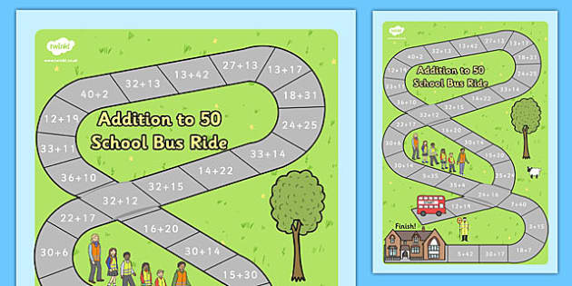 Addition to 50 Bus Board Game - addition to 50, addition, 50, board game, board, game, bus