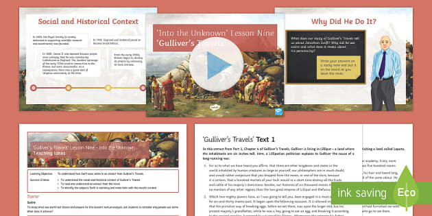 Into the Unknown Pre-1914 Literature Lesson Pack 9: Gulliver's Travels Lesson Pack - Jonathan Swift, Gulliver's Travels, satire, pre-1914 literature, context