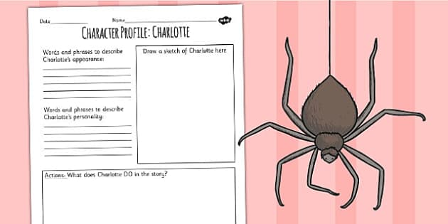 Charlotte's Web Charlotte Character Profile Writing Frame - write