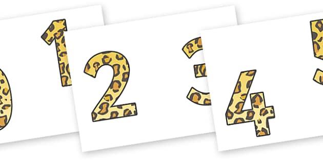 0-9 Display Numbers (Leopard Print) - Display numbers, 0-9, numbers, display numerals, display lettering, display numbers, display, cut out lettering, lettering for display, display numbers
