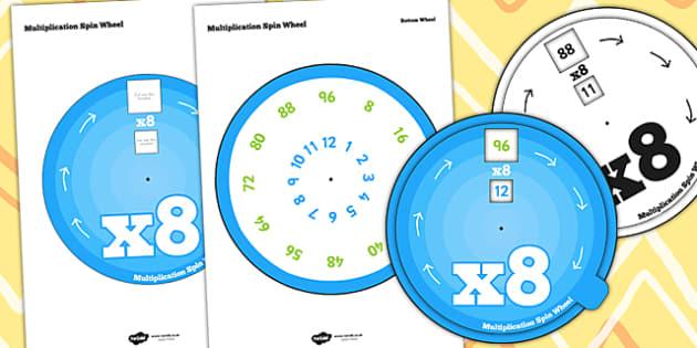Multiplication Spin Wheel 8 - multiplication, wheel, 8 times