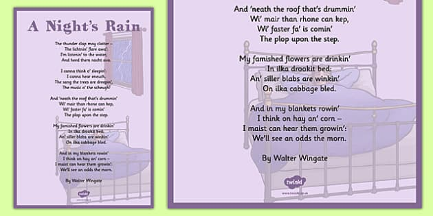 Walter Wingate: A Night's Rain Poem A4 - cfe, walter wingate, a nights rain, poem, a4