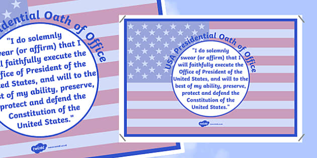 USA Presidential Oath of Office A2 Display Poster