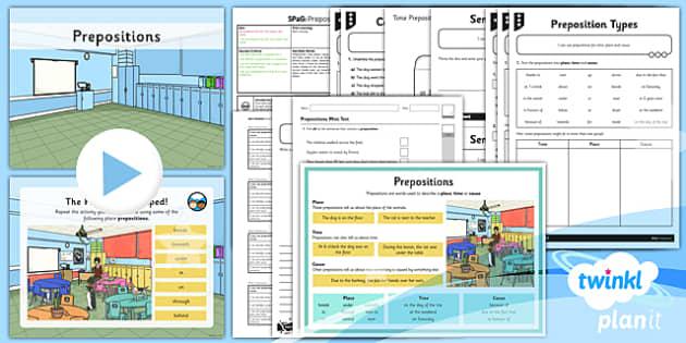 PlanIt Y3 SPaG Lesson Pack: Prepositions  - planit, spag, lesson, prepositions