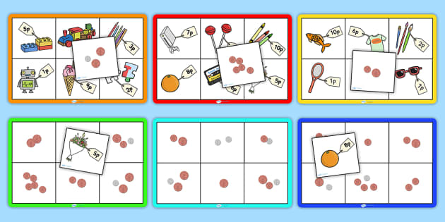 Toy Shop Bingo (Up to 10p) - Money, coins, pounds, pence, foundation numeracy, coin, pay, bingo, shop, addition, prices, price
