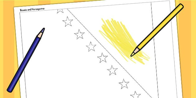 Bosnia and Herzegovina A4 Colouring Flag - country, colour in