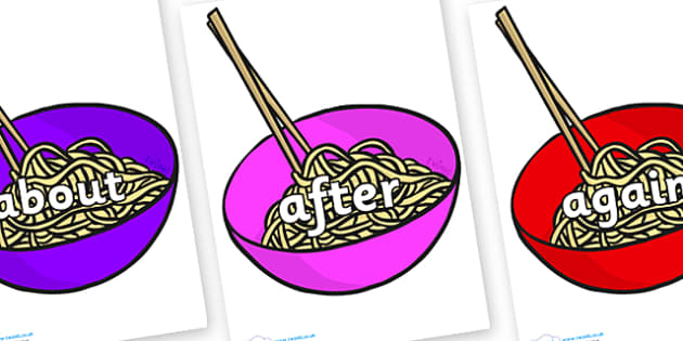 KS1 Keywords on Chinese Noodles - KS1, CLL, Communication language and literacy, Display, Key words, high frequency words, foundation stage literacy, DfES Letters and Sounds, Letters and Sounds, spelling