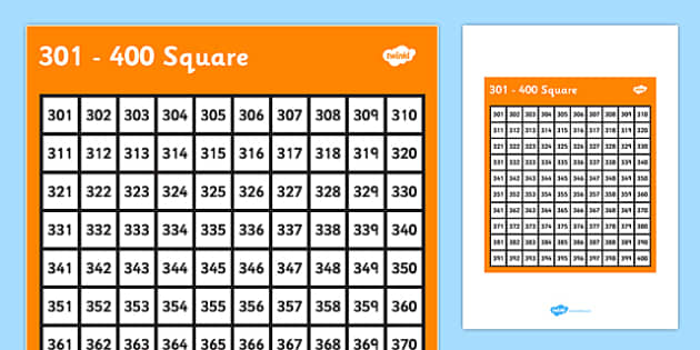 301-400 Square - 301, 400, square, number, number square, maths, numeracy