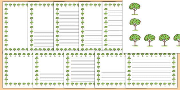 Apple Tree Themed Page Borders - apple tree, page borders, apple, tree, page, borders