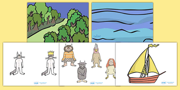 Story Cut Outs to Support Teaching on Where the Wild Things Are - Where the Wild Things Are, Maurice Sendak, Wild Things, resources, Max, wild rumpus, boat, wolf suit, dream, fantasy, story, story book, story book resources, story sequencing, story r