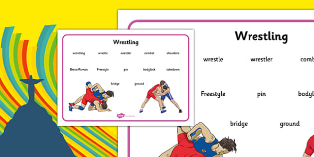 The Olympics Wrestling Word Mat - the olympics, rio olympics, rio 2016, 2016 olympics, wrestling, word mat