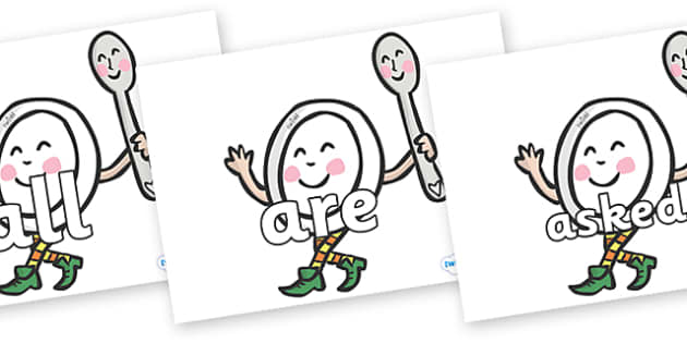 Tricky Words on Plate and Spoon - Tricky words, DfES Letters and Sounds, Letters and sounds, display, words