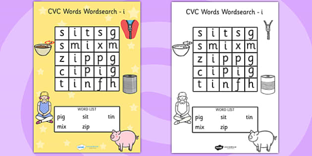 CVC Wordsearch i - word search, word games, find the word, CVC
