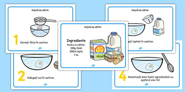 Rețetă pentru clătite - Planșă cu ingrediente