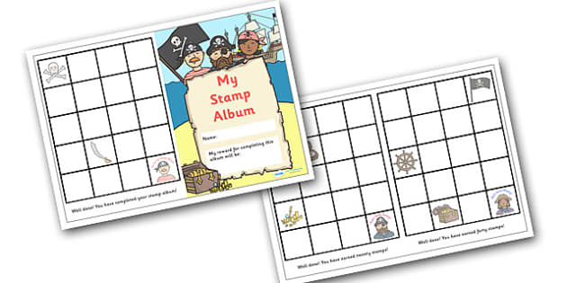 Stamp Reward Album (Pirate Themed) - reward stamp album, pirate themed, reward, stamp, album, stamps, award, chart, stamp album, complete, pirates, theme, pirate, themed