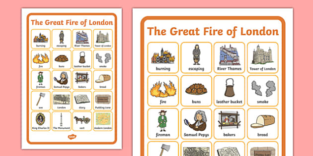 The Great Fire of London Word Grid