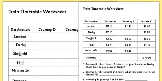 Train Timetable Worksheet timetables reading timetables – Timetable Maths Worksheets