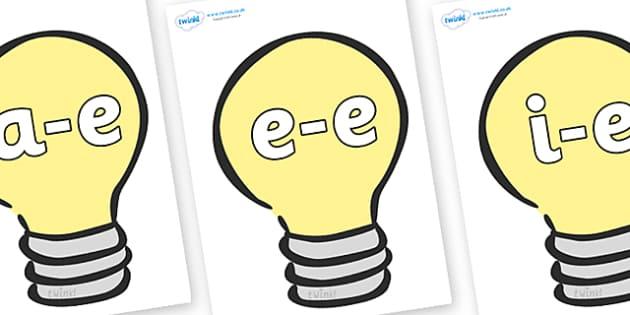 Modifying E Letters on Lightbulbs (Plain) - Modifying E, letters, modify, Phase 5, Phase five, alternative spellings for phonemes, DfES letters and Sounds