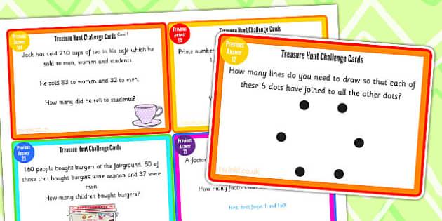 Treasure Hunt Challenge Cards - treasure hunt, challenge, cards