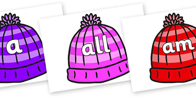 Foundation Stage 2 Keywords on Woolly Hats - FS2, CLL, keywords, Communication language and literacy,  Display, Key words, high frequency words, foundation stage literacy, DfES Letters and Sounds, Letters and Sounds, spelling