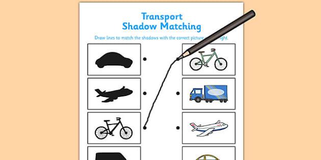 Transport Shadow Matching Worksheet - transport, shadow matching, shadow, match, worksheet