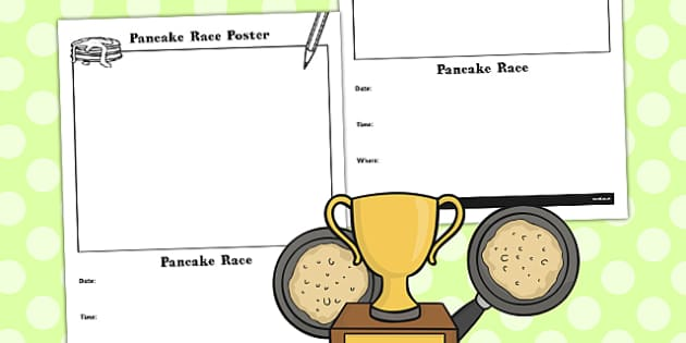 Pancake Race Poster - pancakes, games, game, activity, activities