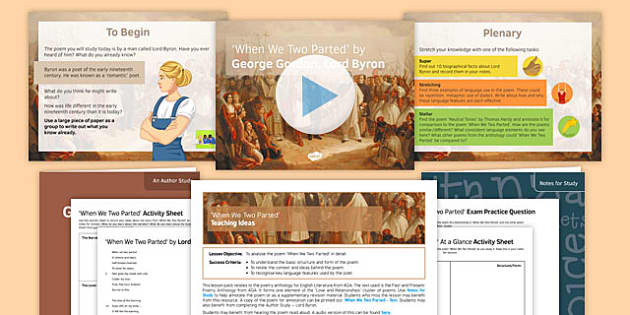 GCSE Poetry Lesson Pack to Support Teaching on 'When We Two Parted' by Lord Byron AQA Syllabus Lesson Pack - Poetry, Anthology, AQA, English Literature, Lord Byron, Love Poetry, Betrayal, poems